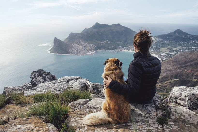 A dog and female owner sitting on a ledge, overlooking an ocean with rock and peninsula outcropping.