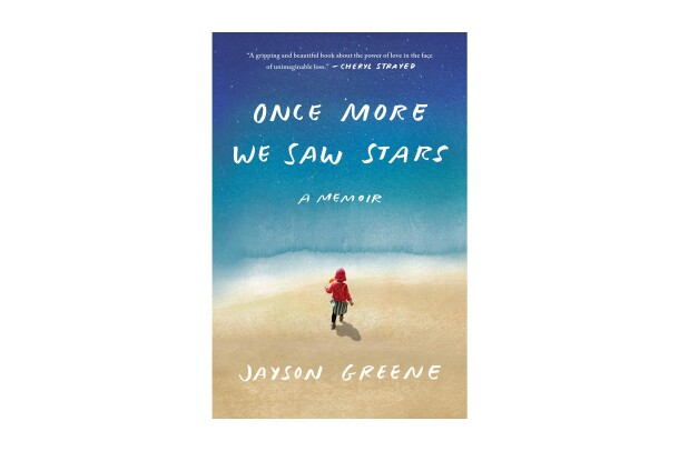 "Book cover of ""Once more we saw stars"" - a memoir by Jayson Green. The title and author name are scrawled in white, all caps, handwritten font. The background shows a stylized image that ppears to be a child running on a surface that may be the beach, toward what appears to be a body of water that bleeds into a darker blue like the night sky, speckled with stars."