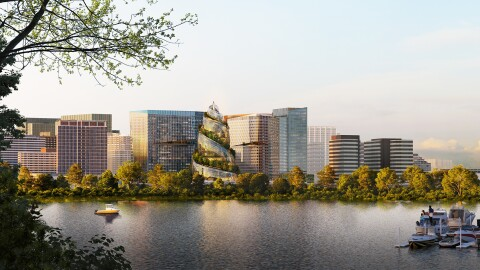 A rendering of Amazon's PenPlace campus in Arlington, Virginia.