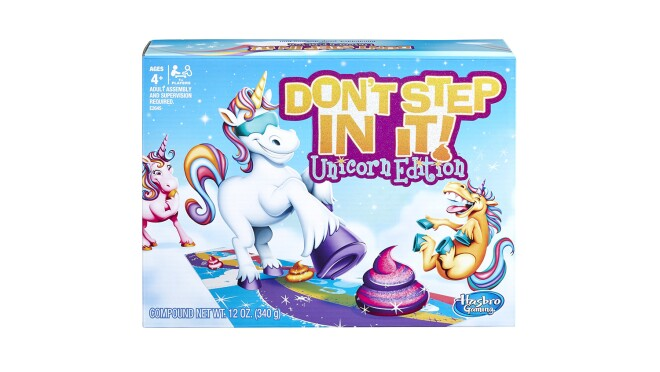 A game, called Don't Step in It! Unicorn Edition, in which players are blindfolded and attempt to dodge the unicorn poop.