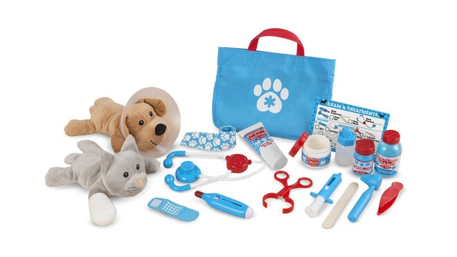 """A 24-piece Melissa & Doug Examine and Treat pretend play pet vet set with plush dog and cat, play stethoscope, thermometer, syringe, ear scope, tweezers, clamp, cast, bandages, """"treatments,"""" and """"ointments,"""" with a reusable double-sided checklist"""