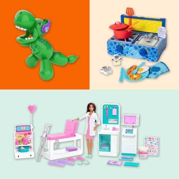 An image with multiple photos in multicolor backgrounds showing different toys. One is a balloon animal dinosaur, the other is a doctor barbie with an accompanying clinic, the other is a cooking set, another is a boardgame, and the last is a truck set with figurines.