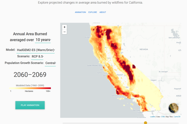 A graph that illustrates the average wildfire burn averaged over 10 years, with predictive modeling. The map shows California.