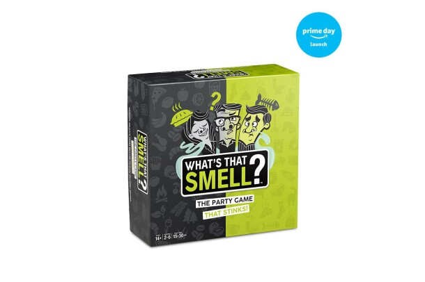 A scent-guessing game, called What's that Smell?, with 48 mystery whiff cards, 4 STANK cards & scent-barrier bags, 6 cardholders, a sheet of whiff strips, scorepad and instructions for 2-6 players