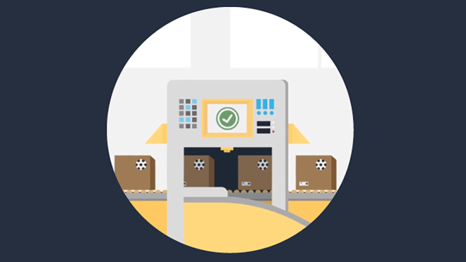 An illustrated image, part of a 4-part series showing how Amazon Transparency works.