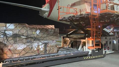 A cargo plane is loaded up with supplies for Mission Vayu