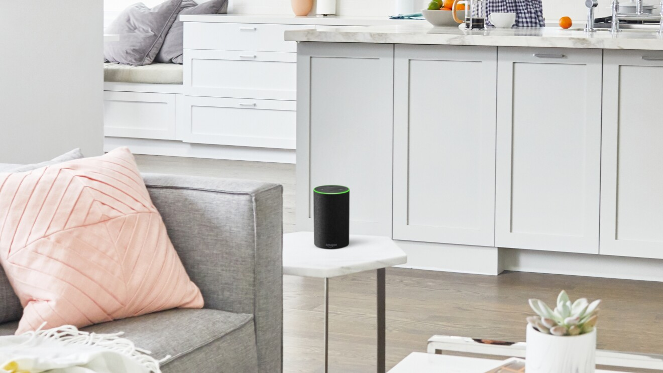 Amazon Echo in Charcoal in a living room environment