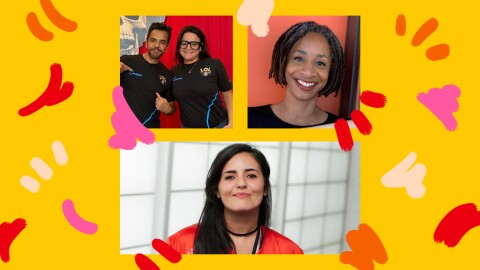 A collage of various Amazon leaders with a colorful yellow, orange, red, and pink background.