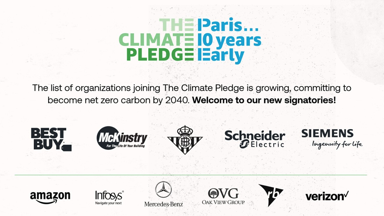 Logos of companies that have joined The Climate Pledge.