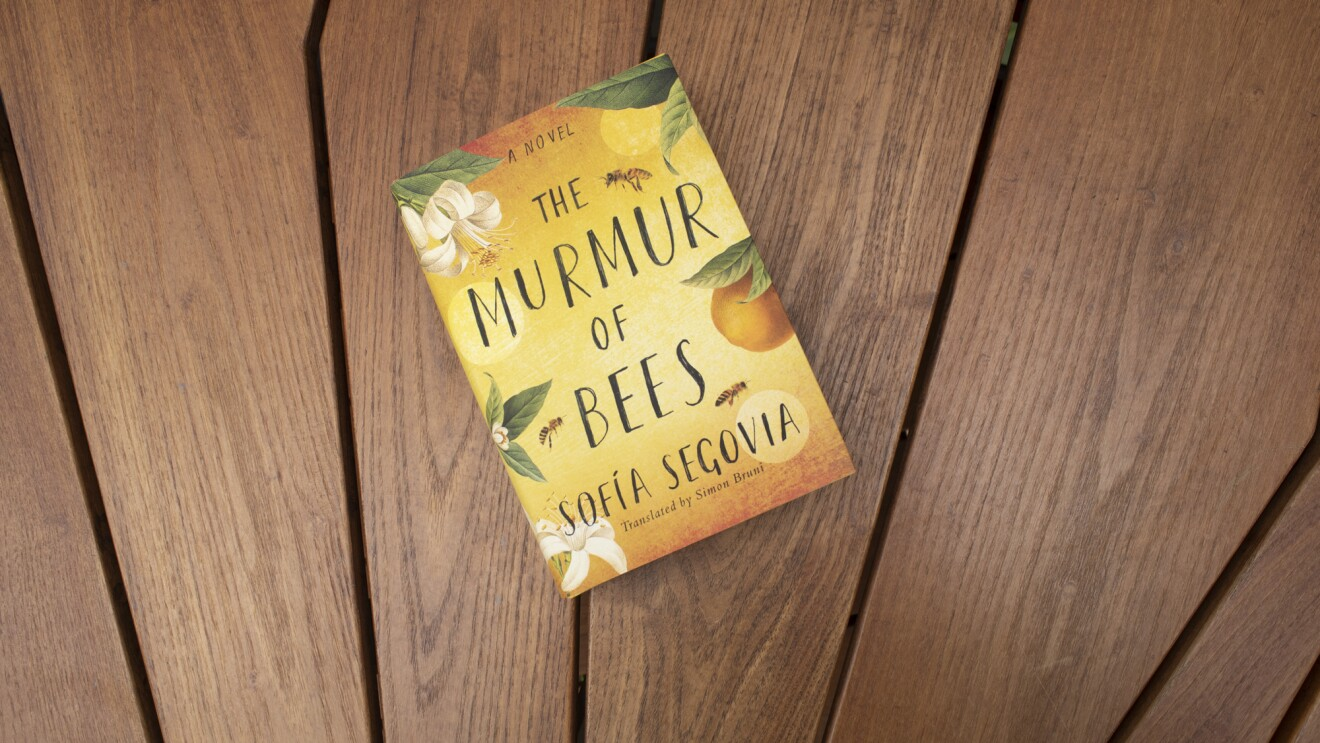 "Book cover for ""The Murmur of Bees"" on a teak wood background."