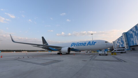 A view of a newly-opened Amazon Air hub
