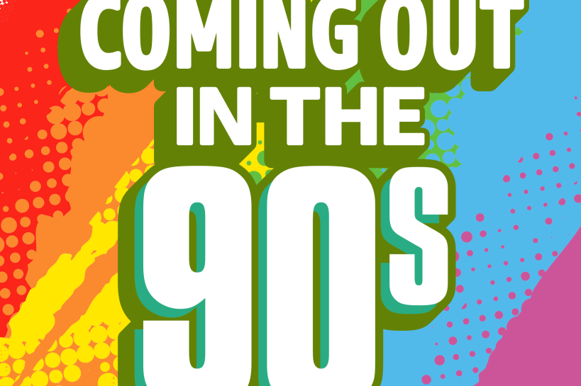 Logo of the London Pride playlist 'Coming out in the 90s'