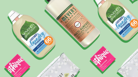 Climate Pledge Friendly products lined up on a green background
