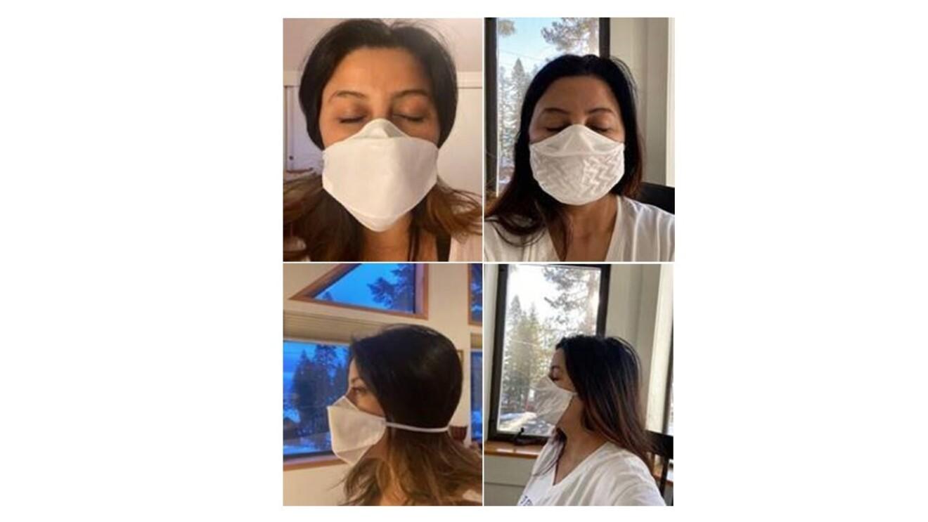 Yvette wears a facemask.