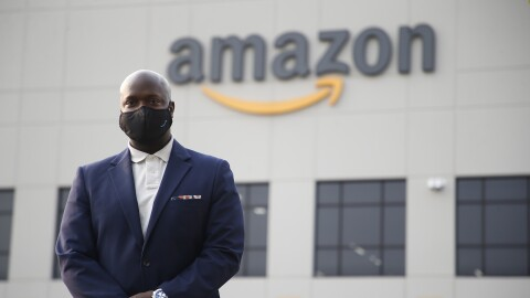 Amazon VP of HR in operations, Ofori Agboka visits a fulfillment center near Detroit to show safety measures taken by the company during the pandemic
