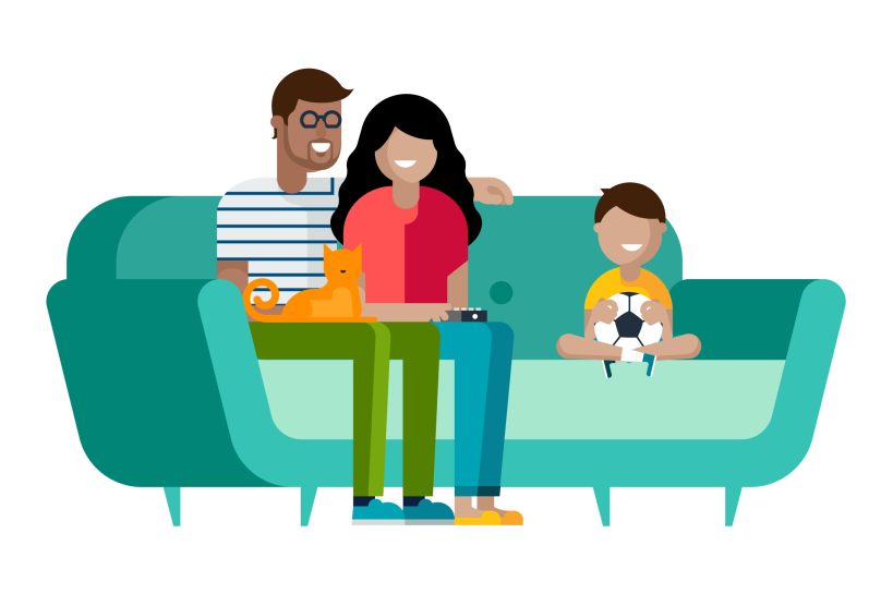 An illustration of a man, woman, boy, and cat sitting on a sofa.