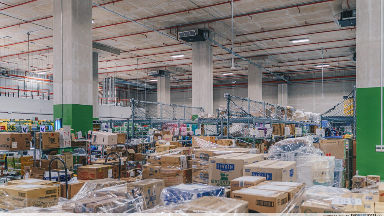 A view of inbound packages that have arrived at the fulfillment centre in Singapore
