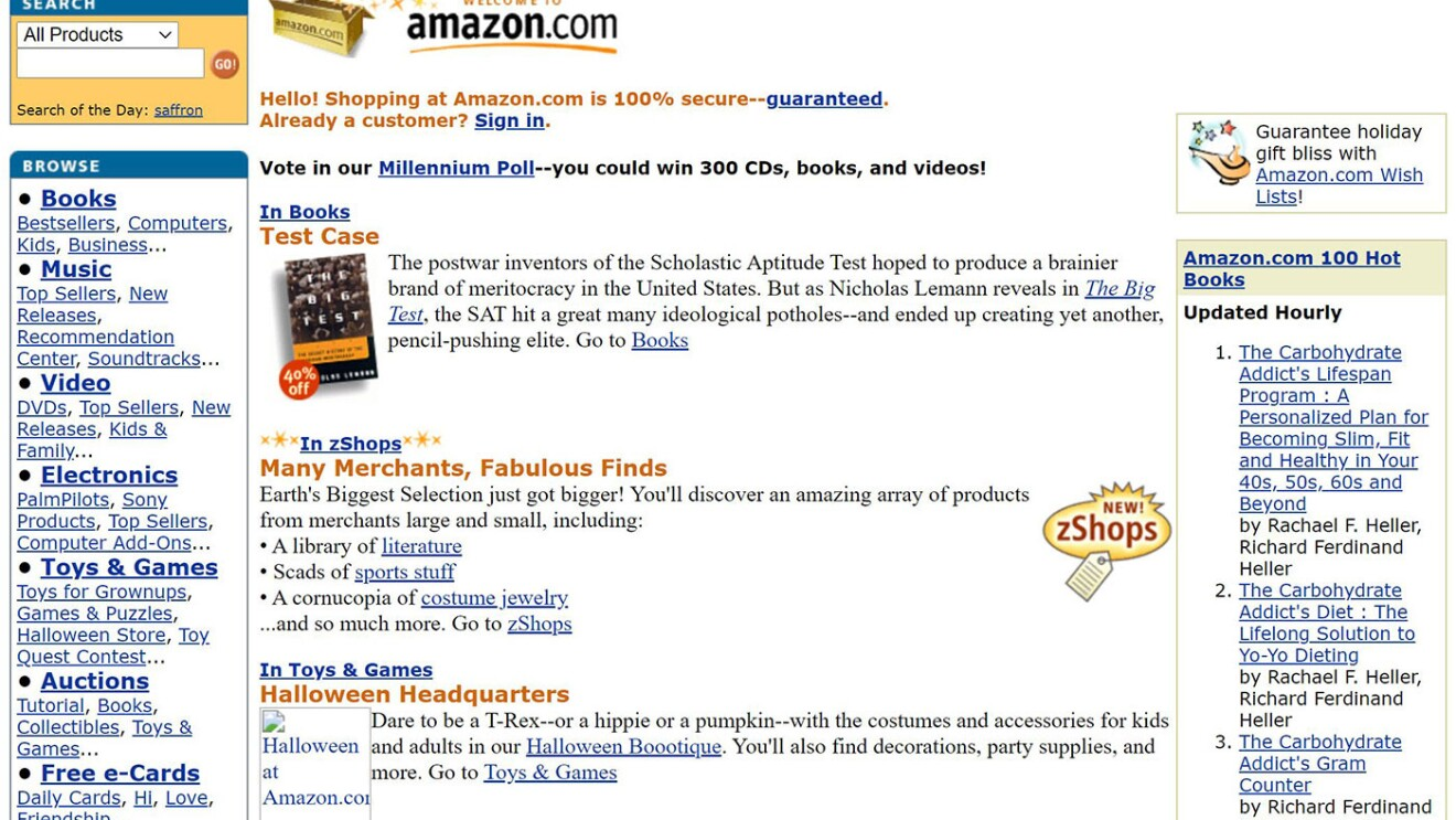 An amazon.com homepage from 1999