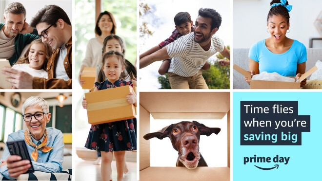 """A collage of images showing different people enjoy Amazon products and time with their loved ones. There is also an image of a dog looking into a box. There is one box with text that reads """"Time flies when you're saving big."""""""