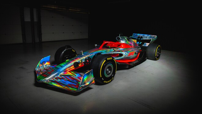 An image of the new, 2022 formula 1 car.