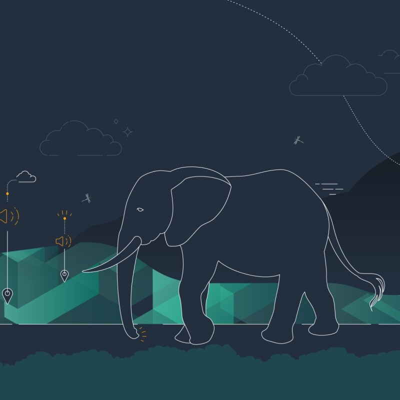 Graphics of a guerilla, elephant and chimpanzee with a dark navy background. Between the animals are small graphics of clouds with a dropdown to a speaker icon with the last drop down to a location pin icon where each animal is.