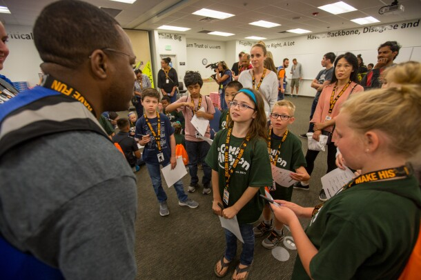 Young students at Camp Amazon event at the BFI3 fulfillment center