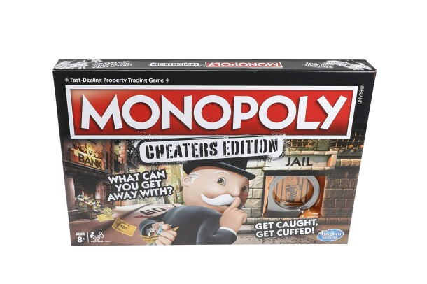 """A Monopoly board game cover on a white background. The box cover says """"MONOPOLY, Cheater's Edition, what can you get away with?"""" and an Uncle Pennybags character looking over his shoulder with a finger to his lips as if to suggest shushing."""