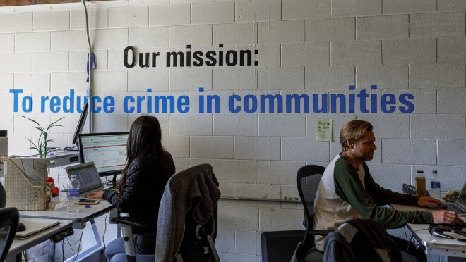Wall art at Ring headquarters reads 'Our mission: To reduce crime in communities.'