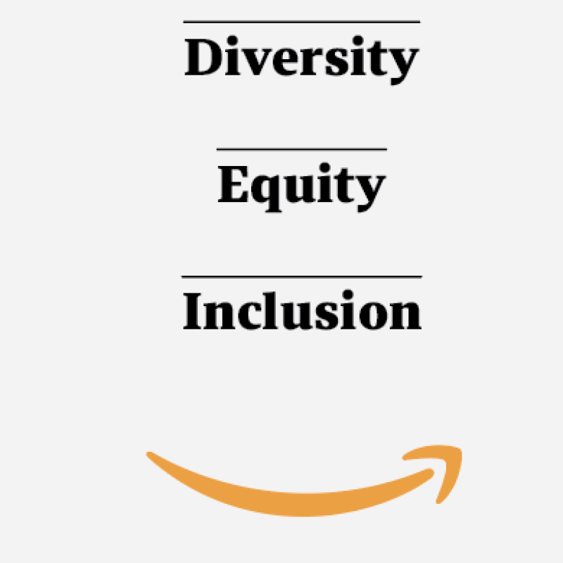 """a graphic that says """"dei"""" and """"Diversity, equity, inclusion"""" and the Amazon smile"""