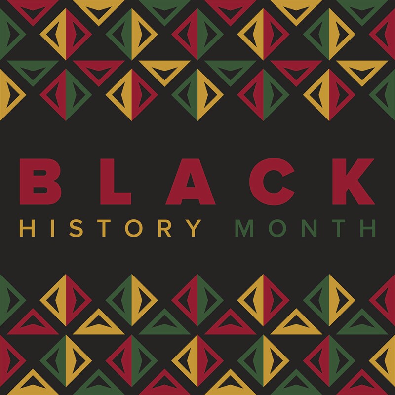 Black background with Black History Month in red, yellow, and green text. Above and below the text are green, red, and yellow patterns