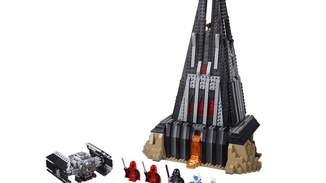 LEGO Star Wars Darth Vader's Castle with five characters, one castle and a flying vessel from Star Wars - with the castle and vessel constructed with LEGO pieces.