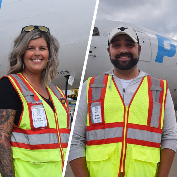 A split image. The image on the left shows a woman standing in front of a Prime Air plane smiling for a photo while wearing a safety vest. The image on the left shows a man smiling for a photo while wearing a safety vest in front of a Prime Air plan.
