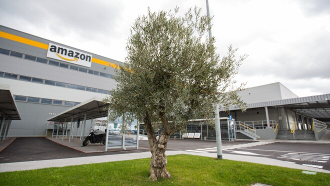 Outside view of an Amazon Italy fulfillment center