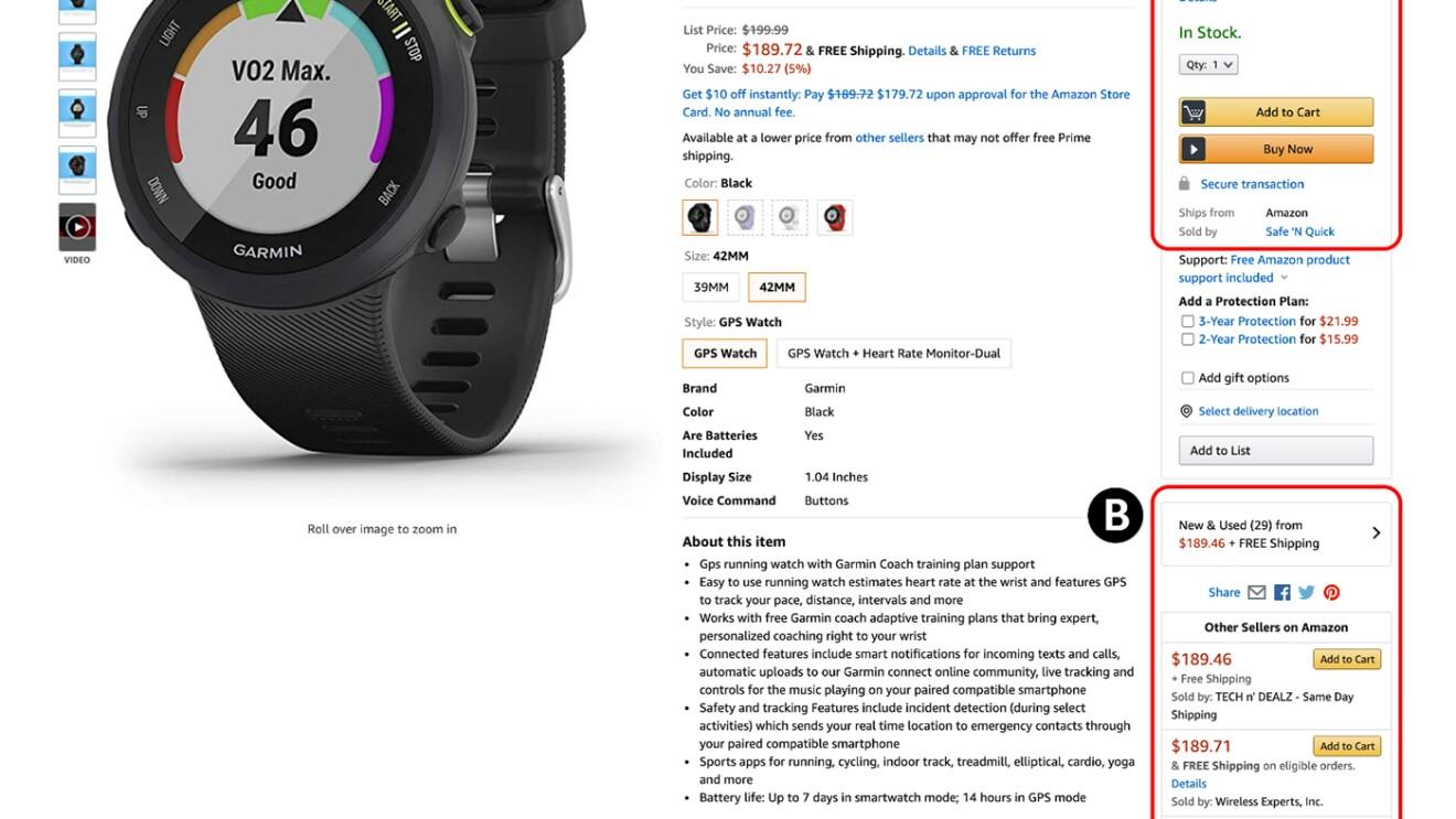 Amazon product page - Garmin device