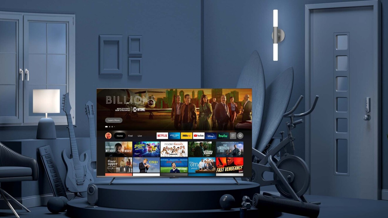 A Fire TV displays a Netflix menu.