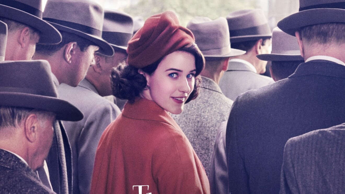 The Marvelous Mrs. Maisel series cover art, in the center is Rachel Brosnahan, looking over her shoulder, in a crowd, surrounded by men