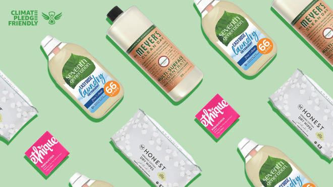 A light green background with a darker green logo that reads Climate Pledge Friendly in the top left corner. The image features rows of repeating products at diagonal. From left: a small pink square that reads Ethique, to its bottom right, a gray rectangle Honest package that is the tall way. On top of the Honest package is a Seventh Generation laundry detergent. The detergent label features a green leaf with seventh generation in white font, below the leave is white that flows into blue with small descriptive text. To the detergent's right is Mrs. Meyer's multi-surface concentrate. The label is coral with unreadable small text.