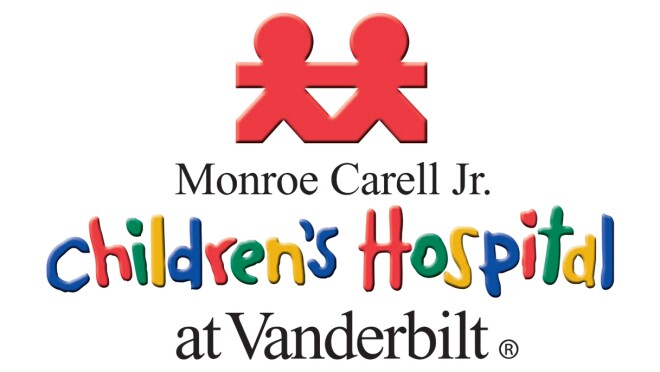 An image of the logo for the Monroe Carell Jr. Children's Hospital at Vanderbilt. The top of the logo shows a red cutout of two paper dolls holding hands.