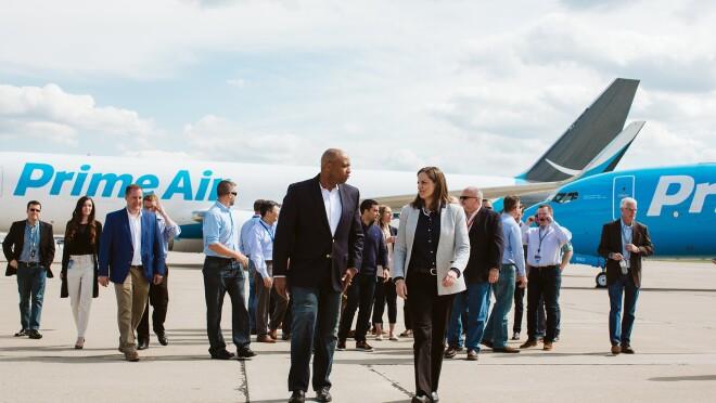 Amazon Prime Air Hub groundbreaking ceremony in Hebron, Kentucky.