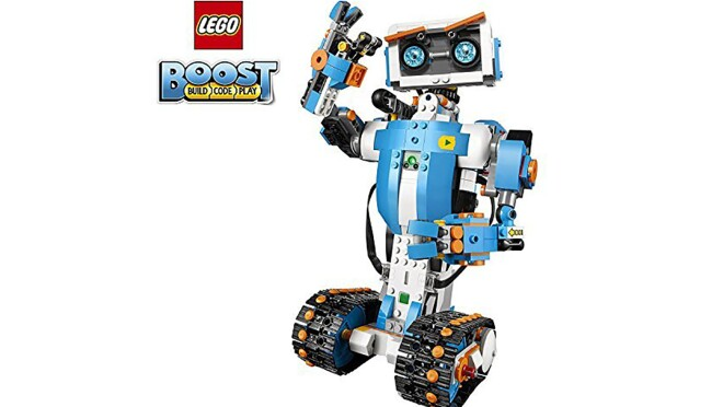 A building toy with more than 840 LEGO pieces, a LEGO move hub, interactive motor and a color & distance sensor move hub features Bluetooth low energy (BLE) connectivity, two encoded motors, activation button, internal tilt sensor and a light.