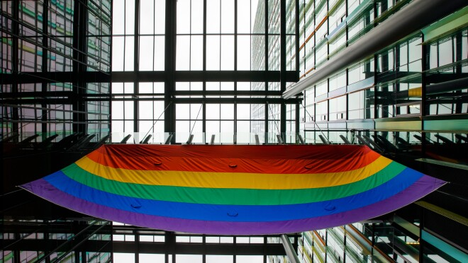 The LGBTQ Pride flag is raised above Amazon HQ in Seattle to mark LGBTQ Pride month in June.