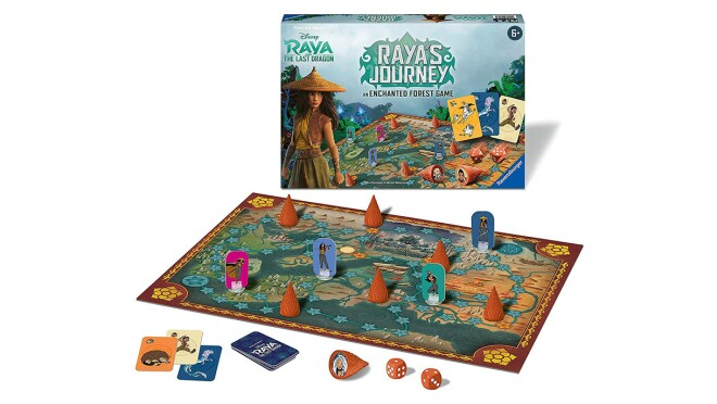 Animage of a board game and its accompanying box.  The box shows the Disney character, Raya, and a landscape behind her.