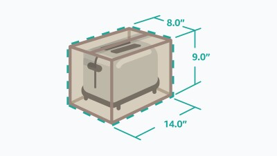 Illustration of the toaster in the new, resized packaging. Length 14.0 inches, Width 8.0 inches, and Height 9.0 inches.