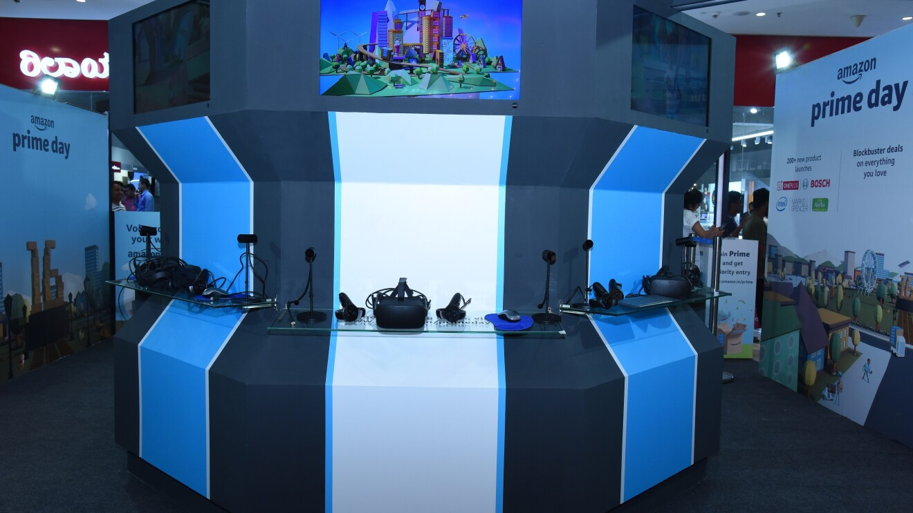 A virtual reality booth at top malls across India for the Amazon Prime Day