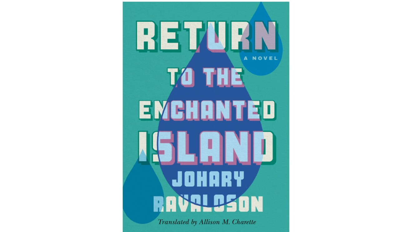 """The book cover of """"Return to the Enchanted Island"""" is a sage color with the title in white block letters that takes up the entire cover. there are three blue raindrops going diagonal across the book with the one in the middle being the biggest and causing the white title to turn light blue."""
