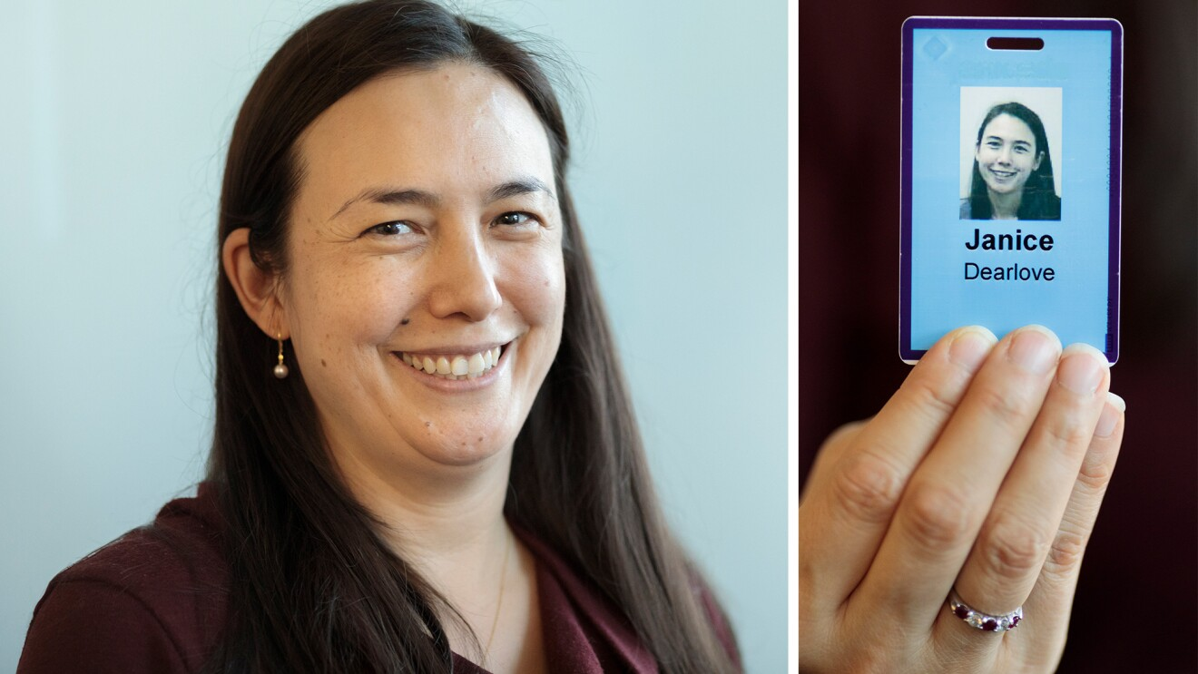 Photos of Janice Dearlove and her Amazon ID badge