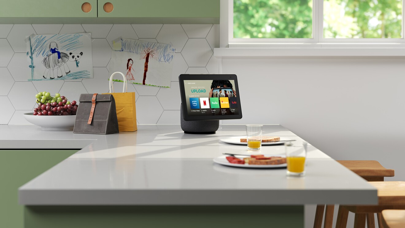Image of Echo Show on kitchen counter.