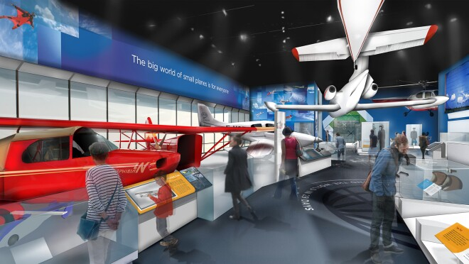 A rendering of the Smithsonian's National Air and Space Museum, with exhibits showing small airplanes, educational materials, and more, with descriptive text and photography to support each of the displays.