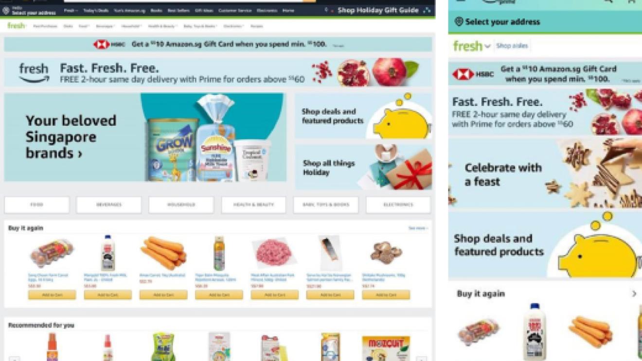 Screen of Amazon Fresh's homepage on Amazon.sg