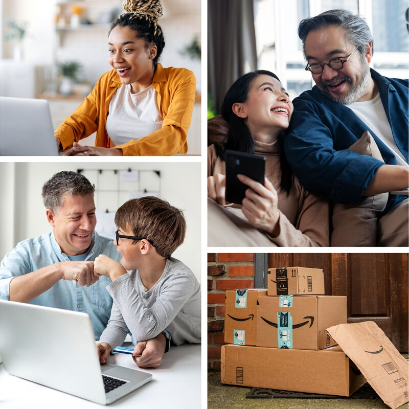 An image collage showing customers shopping on Amazon, getting their packages delivered, and opening their packages.
